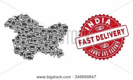 Travel Collage Jammu And Kashmir State Map And Distressed Stamp Seal With Fast Delivery Text. Jammu