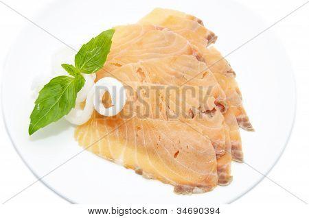sliced meat salmon