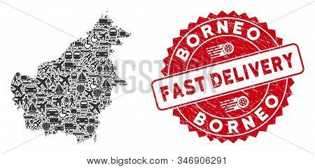 Transportation Mosaic Borneo Island Map And Grunge Stamp Seal With Fast Delivery Phrase. Borneo Isla