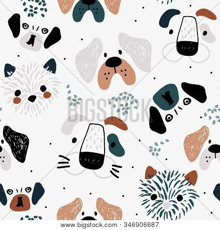 Childish Seamless Pattern With Colorful Dachshunds . Trendy Scandinavian Vector Background. Perfect