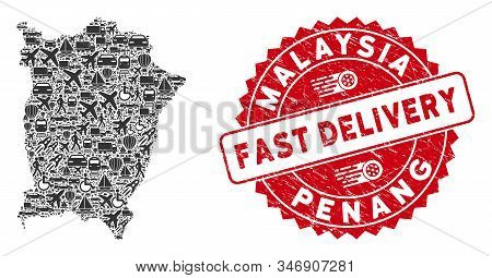 Travel Mosaic Penang Island Map And Corroded Stamp Seal With Fast Delivery Phrase. Penang Island Map