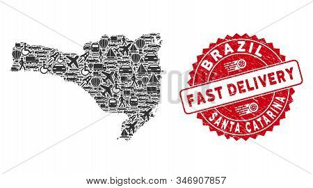 Delivery Mosaic Santa Catarina State Map And Rubber Stamp Watermark With Fast Delivery Badge. Santa