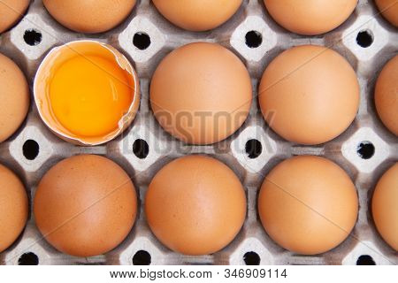 Brown Chicken Eggs Are In A Paper Tray. There Is One Broken Egg. Chicken Eggs Contain Useful Nutrien