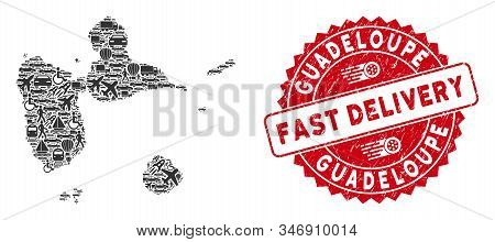 Shipping Mosaic Guadeloupe Map And Grunge Stamp Seal With Fast Delivery Text. Guadeloupe Map Collage