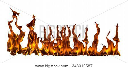 Fire Flame With Sparks On A White Background