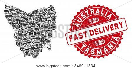 Deliver Collage Tasmania Island Map And Grunge Stamp Watermark With Fast Delivery Caption. Tasmania