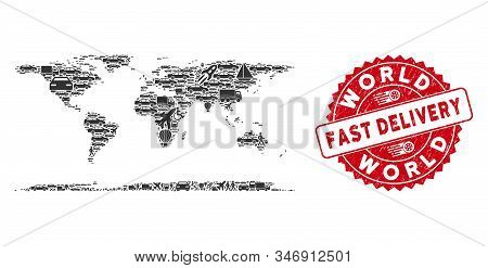 Transportation Mosaic World Continent Map And Rubber Stamp Seal With Fast Delivery Text. World Conti