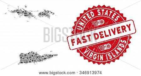 Transportation Collage Usa Virgin Islands Map And Rubber Stamp Seal With Fast Delivery Caption. Usa