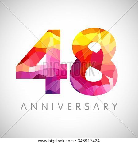 48 Th Anniversary Numbers. 48 Years Old Facet Logotype. Age Congrats, Congratulation Idea. Isolated