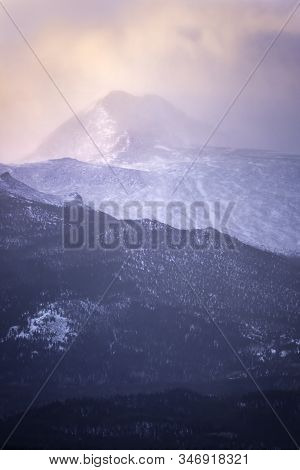 Snowy Sunrise On Longs Peak Mountain