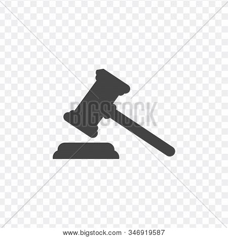 Judge Or Auction Hummer. Flat Style Icon. Stock Vector Illustration Isolated On White Background.