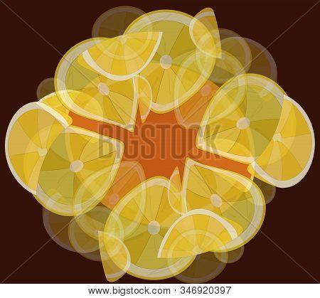 Frame Of Lemons. Vector Illustration. Yellow And Orange