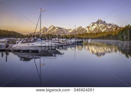 Peaceful Morning At Coulter Bay Located In Grand Teton National Park