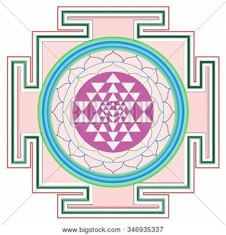 Mandala Sri Yantra Chakra Tantra Spirituality Esoteric Zen Illustration Holy  Geometry Pink
