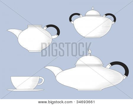 Black and white line drawing of antique style tea set, with teapot, cup & saucer, milk jug and sugar bowl. Also available in vector format