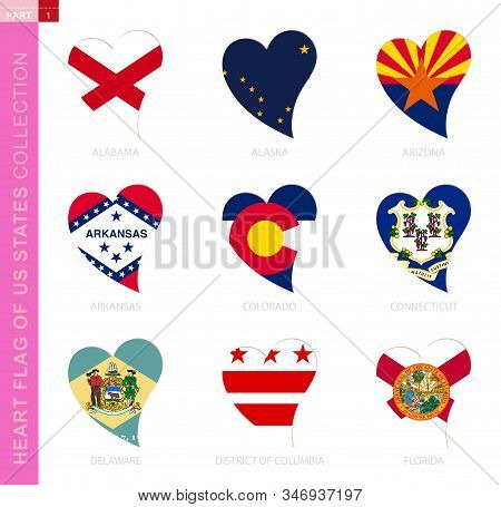 Сollection Of Us State Flags In The Shape Of A Heart. 9 Heart Icon With State Flag Of Alabama, Alask