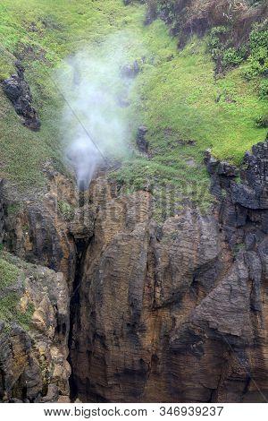 Blowhole At Pancake Rocks. Punakaiki. New Zealand