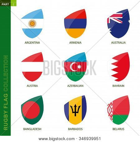 Rugby Flag Collection. Rugby Icon With Flag Of 9 Countries: Argentina, Armenia, Australia, Austria,