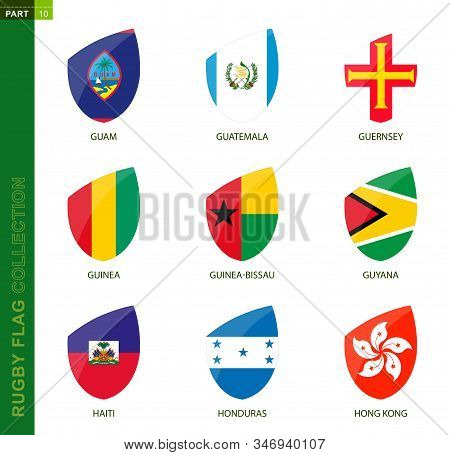 Rugby Flag Collection. Rugby Icon With Flag Of 9 Countries: Guam, Guatemala, Guernsey, Guinea, Guine