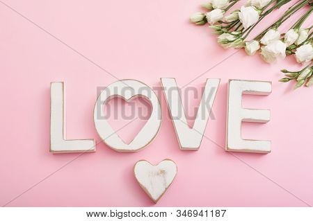 Valentines Day Romantic Background With Heart And Flowers. Valentine Card With Copy Space. Love Lett