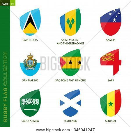 Rugby Flag Collection. Rugby Icon With Flag Of 9 Countries: Saint Lucia, Saint Vincent And The Grena