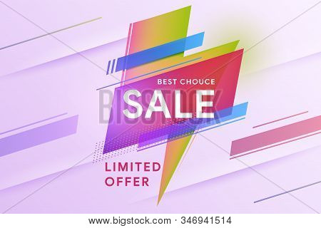 Sale Banner. The Best Choice. Special Offer. Vivid Lightning Bolt In Modern Poster Design Style. Geo
