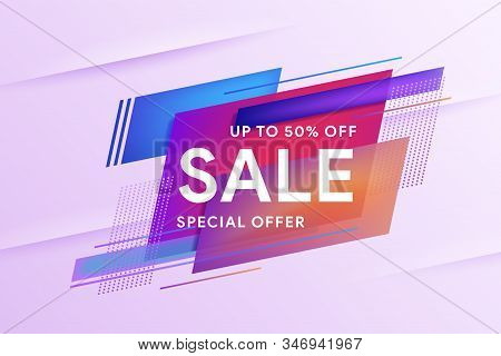 Sale Special Offer Banner. Discount Up To 50% Off. Template For Horizontal Text. Geometric Colorful