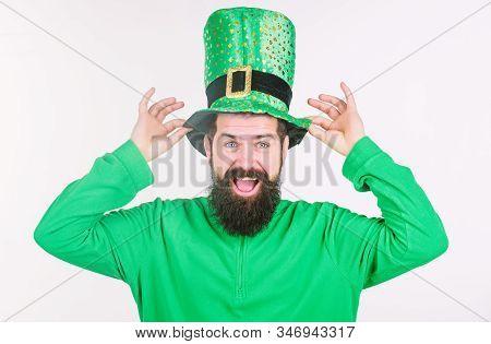 Saint Patricks Day Holiday. Green Color Part Of Celebration. Myth Of Leprechaun. Happy Patricks Day.