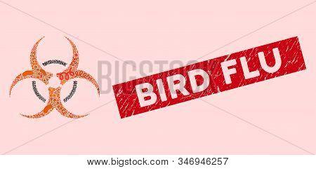 Infected Mosaic Bio Hazard Icon And Rectangular Grunge Stamp Seal With Bird Flu Caption. Mosaic Vect