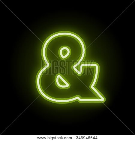 Green Neon Ampersand With Glow On Black Background. Blur Effect Is Made With Mesh. Vector Illustrati