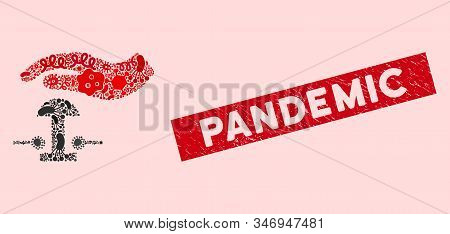 Infected Mosaic Emergency Stop Icon And Rectangle Grunge Stamp Seal With Pandemic Phrase. Mosaic Vec