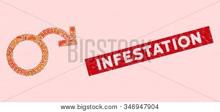 Viral Collage Impotence Icon And Rectangle Distressed Stamp Watermark With Infestation Text. Mosaic