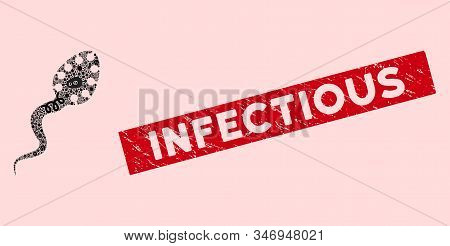 Biohazard Mosaic Infectious Icon And Rectangle Grunge Stamp Seal With Infectious Phrase. Mosaic Vect