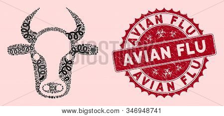 Fever Mosaic Cow Head Icon And Rounded Distressed Stamp Seal With Avian Flu Caption. Mosaic Vector I