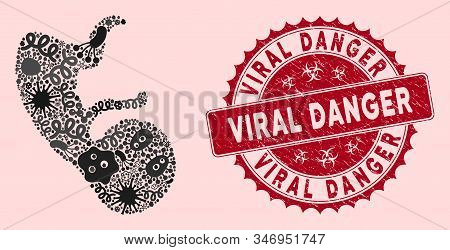 Infectious Mosaic Human Embryo Icon And Rounded Distressed Stamp Seal With Viral Danger Text. Mosaic
