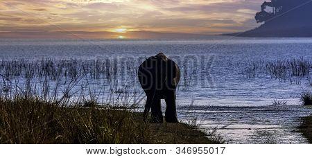Sunrise Over Ramganga Reservoir With Wild Indian Elephant (elephas Maximus Indicus) In Jim Corbett N