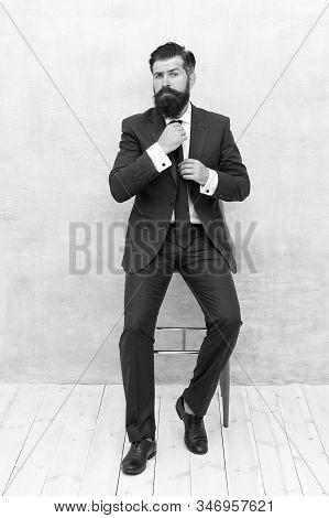 Gentleman Modern Style. Guy Well Groomed Handsome Macho Wear Tuxedo. Fashion Clothes. Modern Trend.