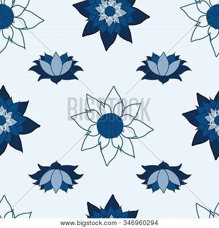 Blooming Lotus Repeat Vector Design, Classic Blue Design, Lily In Bloom Surface Pattern Design