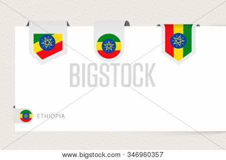 Label Flag Collection Of Ethiopia In Different Shape. Ribbon Flag Template Of Ethiopia Hanging From