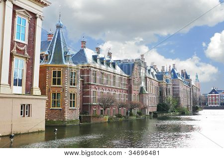 Binnenhof Palace In Den Haag, Netherlands. Dutch Parlament Buildings