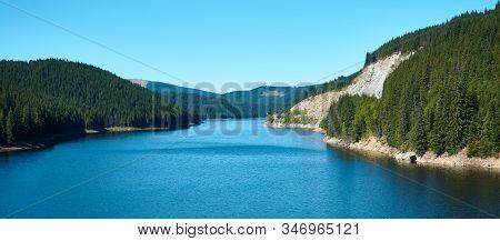 Dam And Reservoir On Lake Oasa, Romania. Waterworks Construction, Dam Oasa On Transalpina Highway In