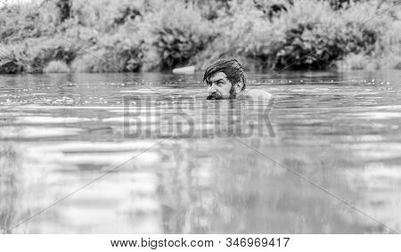Summer Vibes. Mature Swimmer. Brutal Hipster With Wet Beard. Refreshing In River Water. Water Beast.