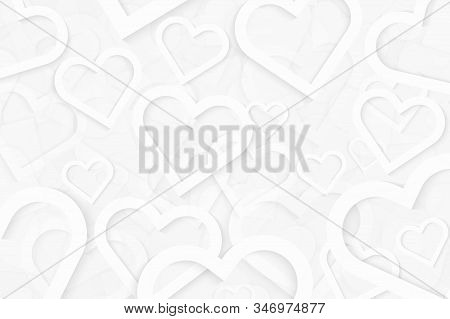 Valentine Hearts Background In White Color. Abstract Background Design With Symbol Of Love. White Ve