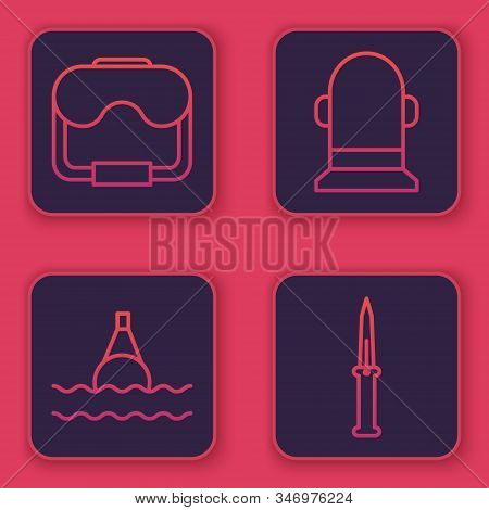 Set Line Diving Mask, Floating Buoy On The Sea, Buoy And Army Knife. Blue Square Button. Vector