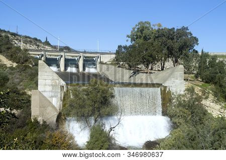 Germasogeia Dam, Cyprus Overflowing After The Heavy Winter Rains