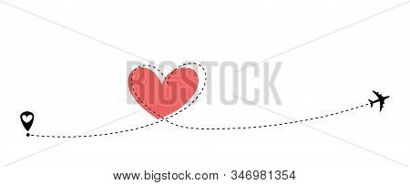 Airplane Flying. Dash Line Heart Loop In The Sky. Air Plane Icon. Black Silhouette Shape. Travel Tra