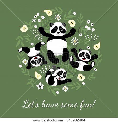 Mom Panda Plays With Little, Cute Kids Pandas. Little Pandas Have Fun. Illustration For Children Dec
