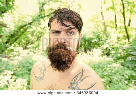 Brutal And Rugged. Hairy Hipster Wearing Long Beard And Mustache In Brutal Style. Bearded Man With B