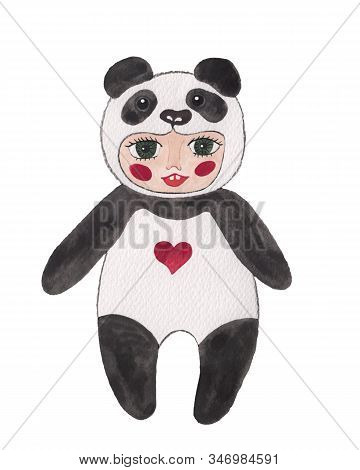 Watercolor Baby In A Panda Costume. Cute Panda Child Party. Symbol Of Chinese New Year.  Costume Pan