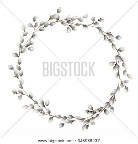 Watercolor Willow Wreath. Hand Painted Willow Branch Isolated On White Background. Spring Illustrati